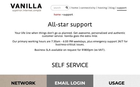 Screenshot of Support Page vanilla.co.za - Support - the Vanilla team, contact information and self service - captured Oct. 19, 2018