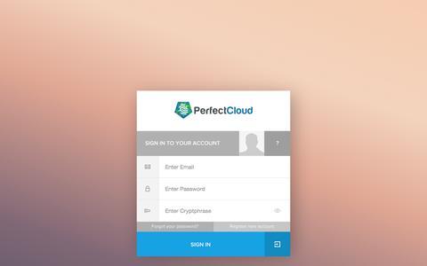 Screenshot of Login Page perfectcloud.io - Secure SmartSignin|PerfectCloud - captured Oct. 2, 2014