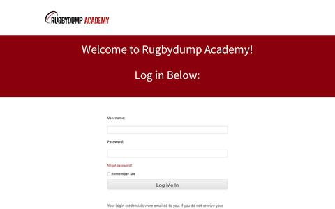Screenshot of Login Page rugbydump.com - Rugbydump Academy – Login — Rugbydump Academy - captured Sept. 21, 2018