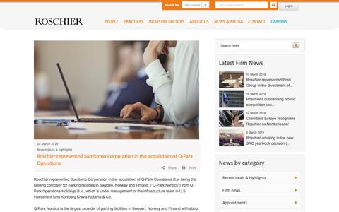 Screenshot of Press Page roschier.com - Roschier represented Sumitomo Corporation in the acquisition of Q-Park Operations | Roschier - captured March 23, 2019