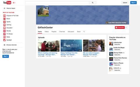 Screenshot of YouTube Page youtube.com - GATechCenter  - YouTube - captured Oct. 22, 2014