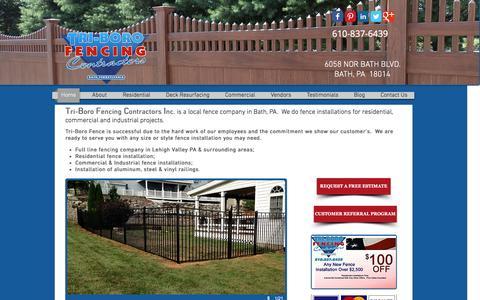 Screenshot of Home Page tri-borofencing.com - Tri-Boro Fencing Contractors Inc. | 610-837-6439 | Fence Company - captured Feb. 25, 2016