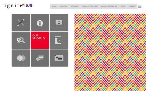 Screenshot of Services Page ignitee.com - Digital Marketing Services: Social Media, SEO/PPC, Media Buying & Planning, Web Design & App Development - Ignitee - captured Oct. 30, 2014