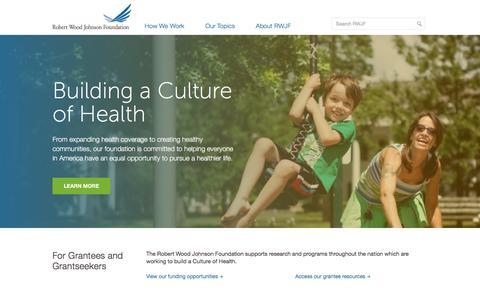 Screenshot of Home Page rwjf.org - Home - Robert Wood Johnson Foundation - captured Jan. 21, 2016