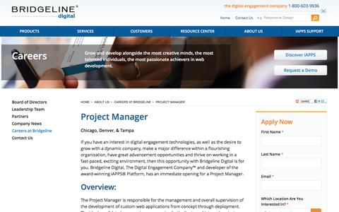 Screenshot of Jobs Page bridgelinedigital.com - Project Manager Career at Bridgeline Digital Tampa | Bridgeline Digital - captured July 2, 2017