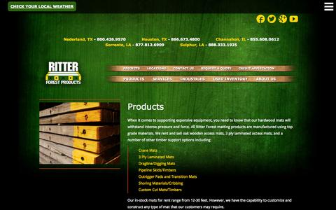 Screenshot of Products Page ritterforest.com - Crane Mats, Laminated Mats & Hardwood Supports - captured Oct. 9, 2014