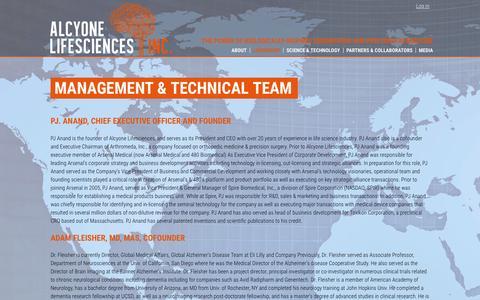 Screenshot of Team Page alcyonels.com - Management & Technical Team | Alcyone Lifesciences, Inc. - captured Feb. 21, 2016