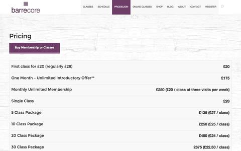 Screenshot of Pricing Page barrecore.co.uk - Class and Membership Prices | Barrecore - captured Sept. 23, 2014