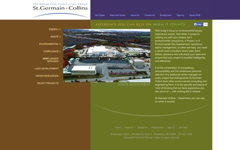 Screenshot of Home Page stgermaincollins.com - St.Germain Collins – an environmental consulting engineering firm - captured Oct. 7, 2014