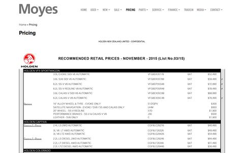 Screenshot of Pricing Page moyes.co.nz - Pricing - Moyes Holden and Suzuki - New and Used Suzuki, Holden and HSV in Panmure, Auckland Ph 09 570 7840 - captured Feb. 14, 2016