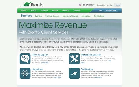 Screenshot of Services Page bronto.com - Multi Channel Marketing Software - Strategic Marketing Services & Integration | Bronto Software - captured Sept. 18, 2014