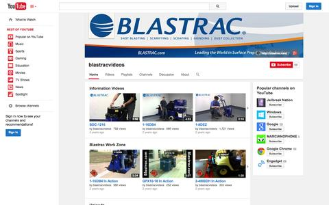 Screenshot of YouTube Page youtube.com - blastracvideos  - YouTube - captured Oct. 23, 2014