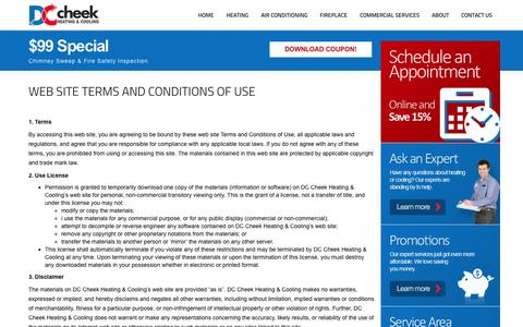 Screenshot of Terms Page cheeksac.com - Terms of Use | DC Cheek Heating and Cooling - captured Nov. 1, 2014
