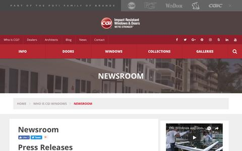 Screenshot of Press Page cgiwindows.com - Newsroom - CGI Windows : CGI Windows - captured Sept. 25, 2018