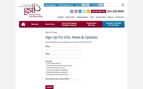 Screenshot of Signup Page gsil.org - Sign Up For News | Granite State Independent Living (GSIL) - captured Oct. 3, 2014