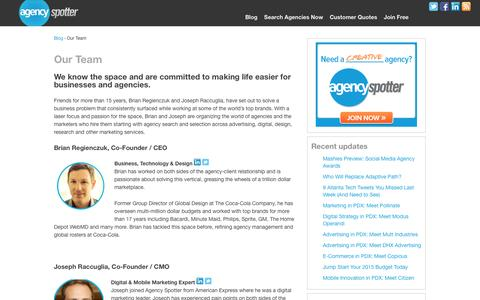 Screenshot of Team Page agencyspotter.com - Agency Spotter Team - Connecting marketers and agencies | Agency Spotter Blog - captured Oct. 28, 2014