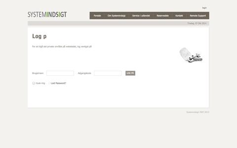 Screenshot of Login Page systemindsigt.dk - Log på - captured Oct. 7, 2014