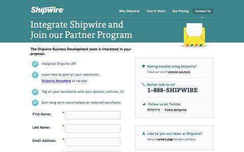 Screenshot of Landing Page shipwire.com - Contact Shipwire order fulfillment team Partner Team - captured Feb. 24, 2016