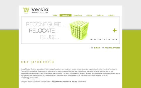 Screenshot of Products Page versiastorage.com - versia storage systems Phoenix, AZ storage solutions | filing solutions | modular solutions - Our Products - captured Oct. 26, 2014