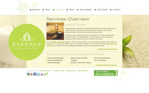 Screenshot of Services Page eszence.com - Eszence - Our Services - captured Sept. 30, 2014