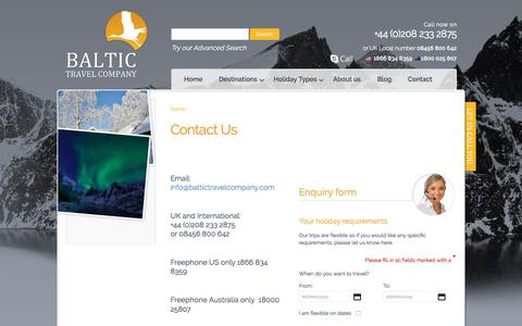 Screenshot of Contact Page baltictravelcompany.com - Contact | Baltic Travel Company - captured May 31, 2017