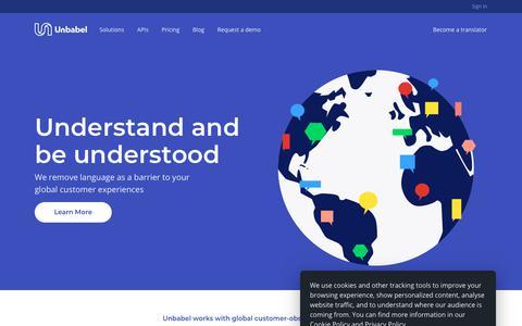 Screenshot of Home Page unbabel.com - Unbabel - Building universal understanding - captured July 21, 2018