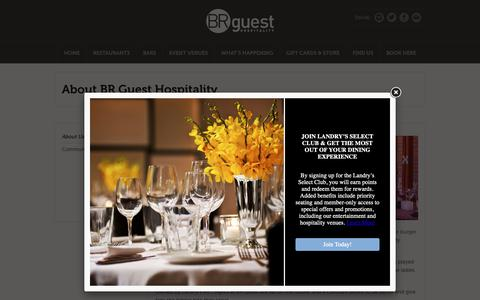 Screenshot of About Page brguesthospitality.com - BR Guest Hospitality About Us | US Restaurants & Bars | BR Guest Hospitality - captured Nov. 21, 2018