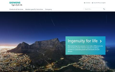 Screenshot of Products Page siemens.com - Home - English - South Africa - captured June 27, 2016