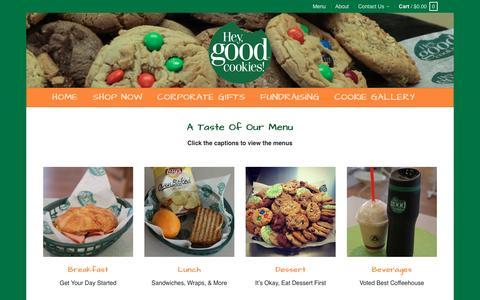 Screenshot of Menu Page heygoodcookies.com - Menu - Hey Good Cookies - captured May 19, 2017