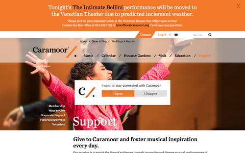 Screenshot of Support Page caramoor.org - Support | Caramoor - captured July 14, 2017