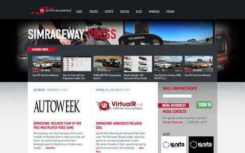 Screenshot of Press Page simraceway.com - Press Portal | Simraceway Blog - captured Oct. 27, 2014