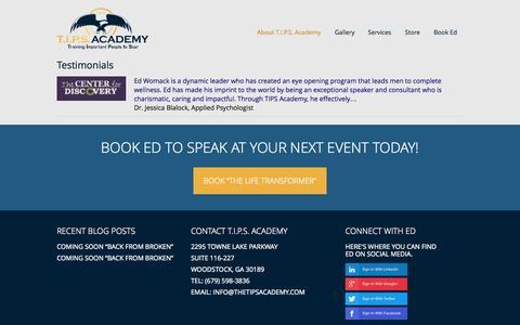 Screenshot of Testimonials Page thetipsacademy.com - Testimonials - T.I.P.S. AcademyT.I.P.S. Academy - captured Oct. 7, 2014