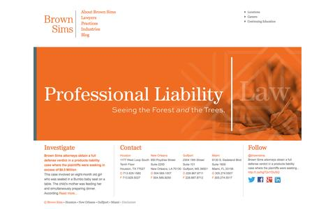 Screenshot of Home Page brownsims.com - Brown Sims is a National Litigation Firm With Over 65 Attorneys - captured Oct. 5, 2014