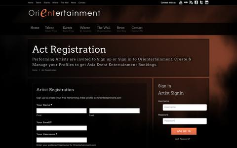 Screenshot of Signup Page orientertainment.com - Performing Artist Profiles – Free Registration | Orientertainment - captured Dec. 6, 2016