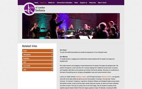 Screenshot of About Page cityoflondonsinfonia.co.uk - City of London Sinfonia - captured Sept. 29, 2014