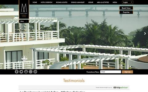 Screenshot of Testimonials Page la-residence-hue.com - Testimonials | La Residence Hue Hotel & Spa - captured Jan. 24, 2016