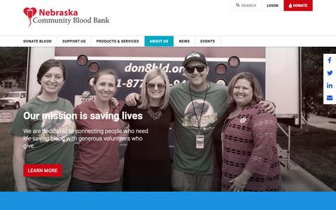 Screenshot of About Page ncbb.org - About Us |  Nebraska Community Blood Bank - captured Oct. 19, 2018