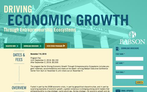 Screenshot of Landing Page babson.edu - Driving Economic Growth Through Entrepreneurship Ecosystems - captured Aug. 26, 2016