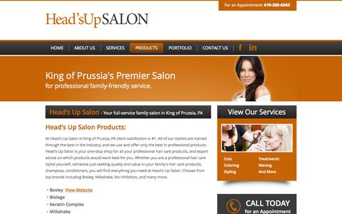 Screenshot of Products Page headsupsalonkop.com - Head's Up Salon Products in King of Prussia, PA, 19406 - captured Sept. 29, 2014