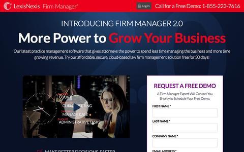 Screenshot of Landing Page lexisnexis.com - Firm Manager® 2.0 - Free Demo - captured Sept. 25, 2016