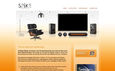 Screenshot of Testimonials Page spikemedia.co.uk - Web design, Website Development, Digital Marketing and Video Production based in Glasgow, Scotland, UK - Spike Multimedia Ltd - captured Oct. 7, 2014