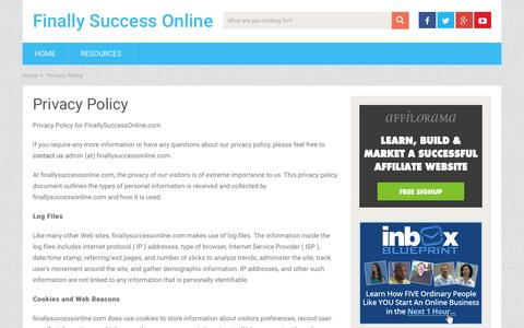Screenshot of Privacy Page finallysuccessonline.com - Privacy Policy - captured Jan. 25, 2016