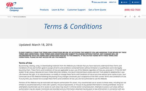 Terms & Conditions - AAA Life Insurance Company