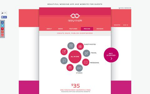 Screenshot of Pricing Page appycouple.com - Pricing Made Simple   Wedding App   Wedding Website   Appy Couple - captured Sept. 12, 2014
