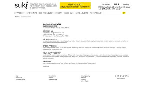 Screenshot of Contact Page sukiskincare.com - customer service - captured Sept. 21, 2018