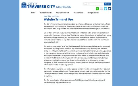 Screenshot of Terms Page traversecitymi.gov - Website Terms of Use  | City of Traverse City - captured Oct. 2, 2014