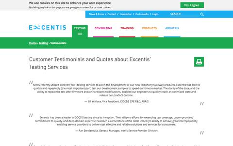 Screenshot of Testimonials Page excentis.com - Customer Testimonials and Quotes about Excentis' Testing Services | Excentis - captured Sept. 30, 2014