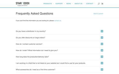 Screenshot of FAQ Page star-oddi.com - FAQ - captured Oct. 20, 2018