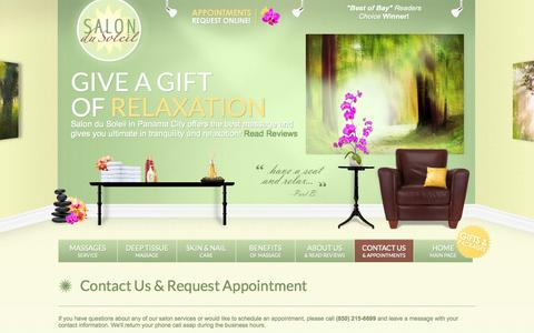 Screenshot of Contact Page Maps & Directions Page salondusoleilpc.com - Salon Du Soleil | Contact your Panama City Massage, Nair Care & Skin Care Professional - captured Oct. 27, 2014