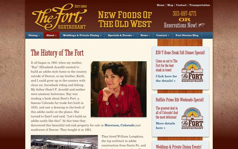 Screenshot of About Page thefort.com - The History of The Fort - The Fort Restaurant - captured Oct. 14, 2017